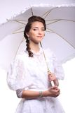 Portrait of young woman with umbrella retro wedding Royalty Free Stock Photography