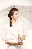 Portrait of young woman with umbrella retro wedding Stock Images