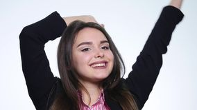 Portrait of young woman very happy and rejoices. Positive human emotion.  stock footage