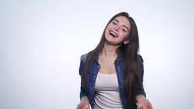 Portrait of young woman very happy and rejoices. Positive human emotion.  stock video