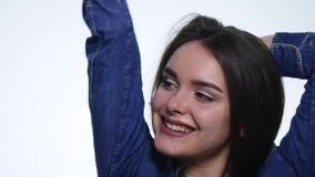 Portrait of young woman very happy and rejoices. Positive human emotion.  stock video footage