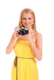 Portrait of young woman with vintage camera Royalty Free Stock Photo