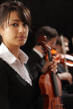 Portrait of young woman violinist Royalty Free Stock Photos