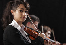 Portrait of young woman violinist Royalty Free Stock Photography