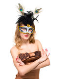 Portrait of a young woman wearing a carnival mask Royalty Free Stock Image