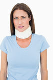 Portrait of a young woman wearing cervical collar Stock Photography