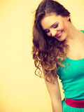 Portrait, young woman wearing colorful makeup and blue dress Royalty Free Stock Photography
