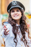 Portrait Of Young Woman Wearing The Uniform Of Navy Royalty Free Stock Photo