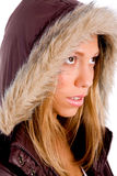 Portrait of young woman wearing winter coat Stock Image
