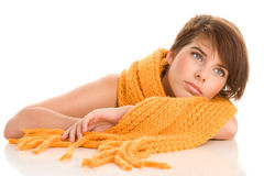 Woman wearing woolly scarf Stock Photography