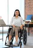 Portrait of young woman in wheelchair royalty free stock photography