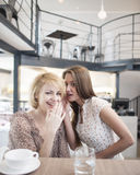Portrait of young woman whispering into female friend's ear in cafe Stock Photo