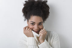 Portrait of young woman. In white sweater Royalty Free Stock Photo