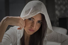 Portrait of a young woman. With white sweater stock photos