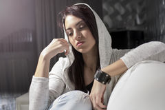 Portrait of a young woman. With white sweater stock photo