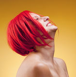Portrait of a Young Woman in Wig Stock Photo