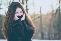 Portrait of Young Woman in Winter Stock Images