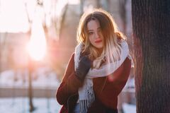Portrait of Young Woman during Winter Stock Photography