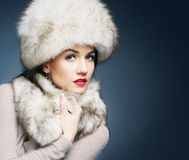 Portrait of a young woman in winter clothes Stock Image