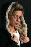 Portrait of a young woman in winter coat Stock Photos