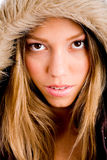 Portrait of young woman with winter coat Royalty Free Stock Image
