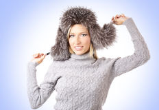 Portrait of a young woman in a winter hat Stock Images