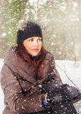 Portrait of the  young woman in winter outdoors Royalty Free Stock Images