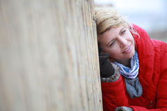Portrait of a young woman in winter outfit. Royalty Free Stock Image