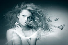 Free Portrait Young Woman With Butterfly Royalty Free Stock Image - 9676366