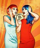 Portrait of young women in comic pop art make-up style. Females in red and blue wigs call on the phone royalty free stock photos