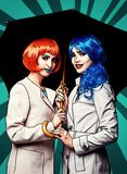 Portrait of young women in comic pop art make-up style. Females with umbrella vector illustration