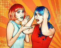 Portrait of young women in comic pop art make-up style. Shocked females in red and blue wigs vector illustration