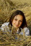 Portrait of a young women on a field Stock Photo