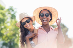 Portrait of young women smiling. Portrait of young women in sunglasses smiling Stock Photography