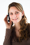 Portrait of a young women telephone operator Royalty Free Stock Photos