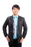 Portrait of younger asian man wearing western suit standing and royalty free stock images