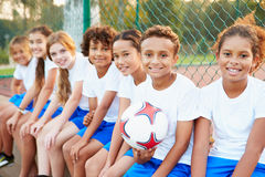 Portrait Of Youth Football Team Training Together Stock Photo