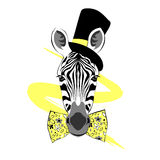 Portrait of zebra in tall hat stock illustration