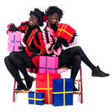 Portrait of Zwarte Piet with presents Royalty Free Stock Photography