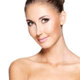 Portraite of a beautiful woman with perfect skin stock image