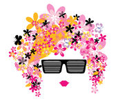 Portraite with glasses and flower hair Stock Photos