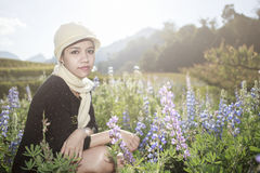 A portraits of asian woman at Lavandula graden Stock Photos