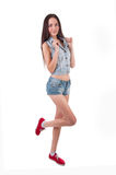 Portraits Beautiful Young  Girl wearing casual jeans Royalty Free Stock Photo