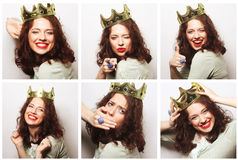 Portraits of a beautiful young  woman with crown Royalty Free Stock Image