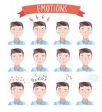Portraits beaux d'émotions d'homme illustration de vecteur