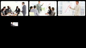 Portraits of business people doing presentation stock video