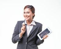 Portraits business woman on white background Stock Images
