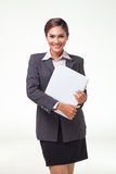 Portraits business woman on white background Royalty Free Stock Photos