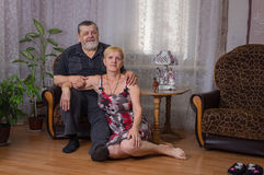 Portraits of Caucasian mature sister and brother together Royalty Free Stock Photos