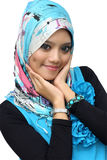 Portraits of cheerful young muslim woman. Over white background Royalty Free Stock Photography